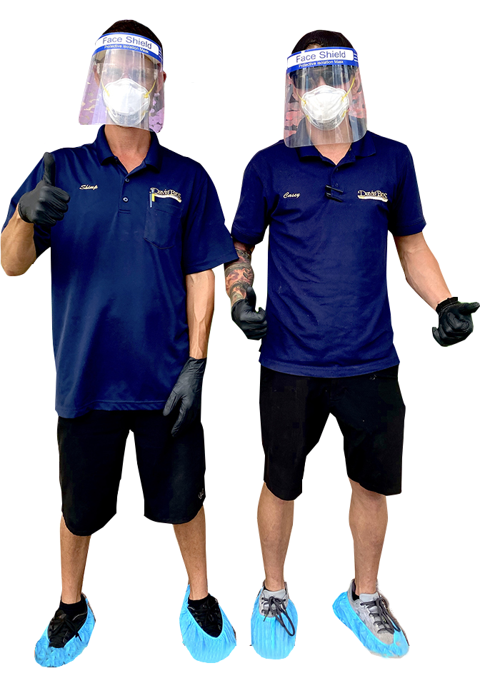 Davis Bros. Workers with Safety Glasses and Masks for protection